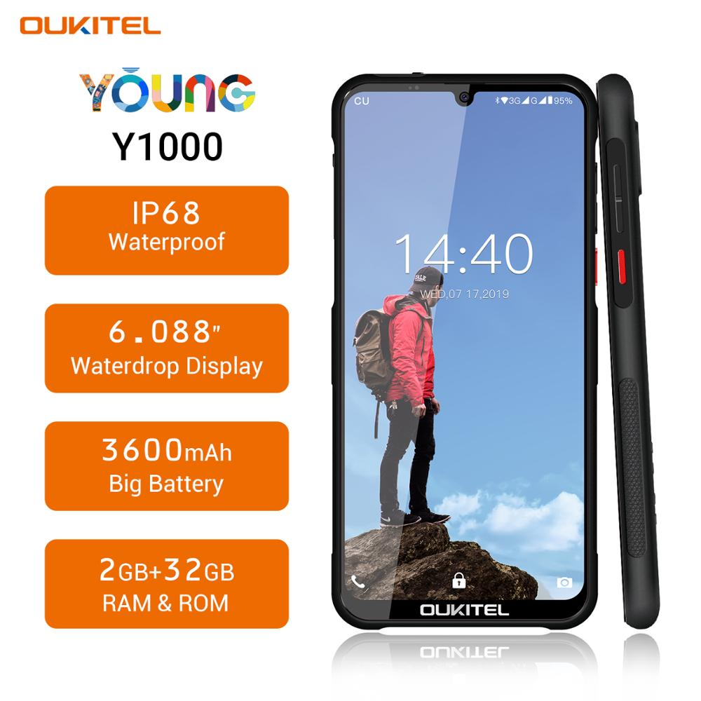 OUKITEL Y1000 Smartphone Android 9.0 MT6580P 2G RAM 32G ROM 3600mAh IP68 Waterproof Rugged Face ID Fingerprint Mobile Phone