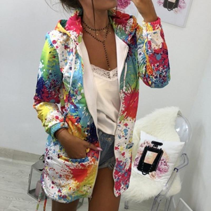 Bomber Jacket Coat Women Colourful Tie Dyeing Print Pocket Zipper Hooded Sweatshirt Outwear Casual Windbreaker Slim Bomber Jacket Coat Women Colourful Tie Dyeing Print Pocket Zipper Hooded Sweatshirt Outwear Casual Windbreaker Slim Overcoat
