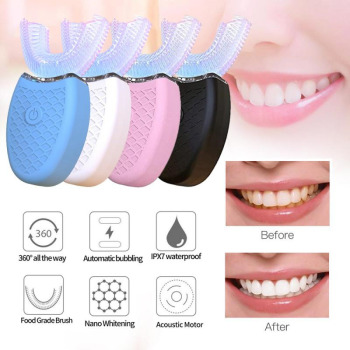U Shaped Sonic Automatic Electric Toothbrush 360° Tooth Cleaner Beauty Instrument Silicone Brush USB Rechargeable Teethbrush 360degree automatic whitening toothbrush u shaped electric toothbrush beauty instrument white electric toothbrush