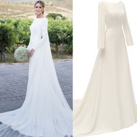 Simple satin Backless Long Sleeve outdoor bridal gown Wedding Dress 100% real sample photo factory