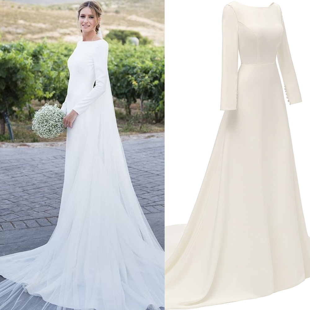 Wedding-Dress Bridal-Gown Satin Long-Sleeve Backless Photo-Factory Outdoor Simple 100%Real-Sample title=