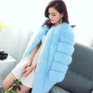 Image 3 - ZADORIN S 4XL חורף יוקרה פו שועל פרווה מעיל Slim ארוך ורוד אדום כחול פו פרווה מעיל נשים מזויף פרווה מעילים manteau fourrure