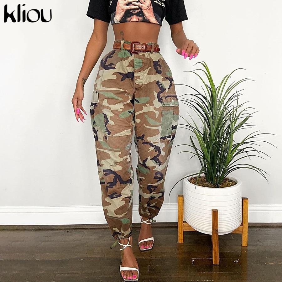 Kliou surdimensionné imprimé Camouflage jambe large pantalons de survêtement femmes bouton de fermeture éclair taille élastique cheville bande Coll Street Style pantalons décontractés