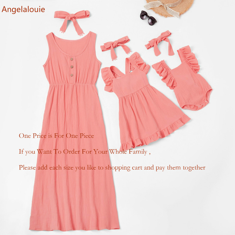 1pcs Price Mom and Daughter parent-child Dress Mother Daughter dresses Short sleeve Children Baby clothes Family Matching Outfit image