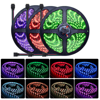 цена на 12V SMD 5050 RGB LED Strip Light Waterproof 1M-5M Tape Neon LED Strip Light 60led/m Flexible DC 12V RGB Lamp Ambilight Diode