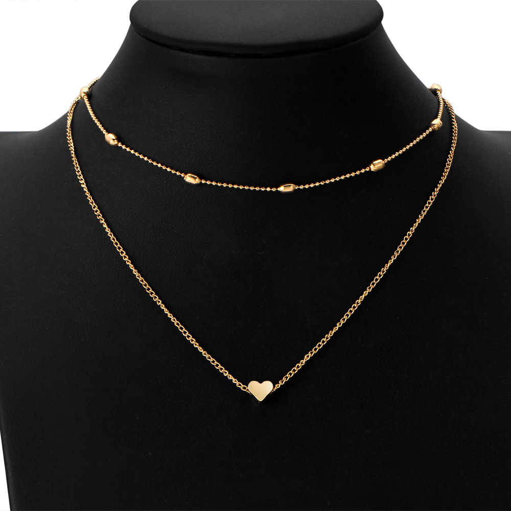 Korean Jewelry Statement Necklace Fashion Simple Copper Heart Multi Layer Clavicle Gold Necklace Women Choker Wholesale