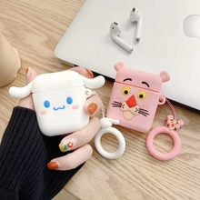 3D Cute Kawaii Pink Cartoon Earphone Cases For Airpods 2/i10/i11/i12 TWS Protect Cover with Finger Ring Strap For AirPods Case(China)