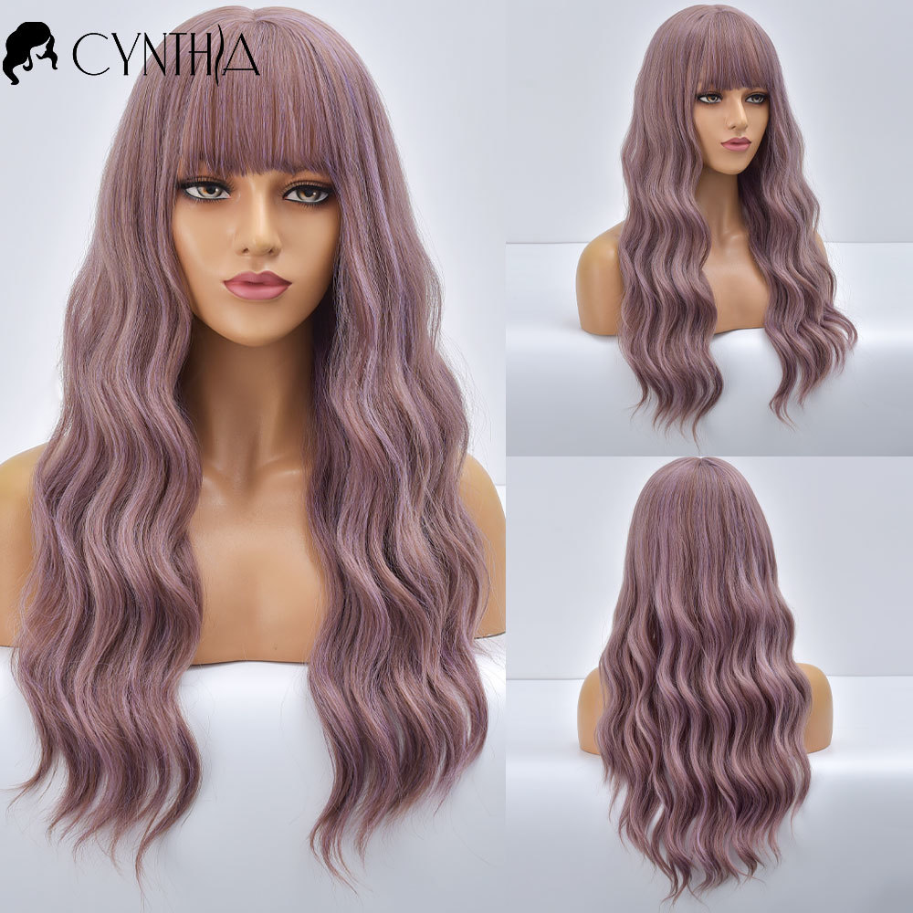 Long Ombre Purple Wave Daily Synthetic Wigs For Women With Bangs  Heat Resistant Natural Fiber Curly Cosplay Party Fake Hair Wig