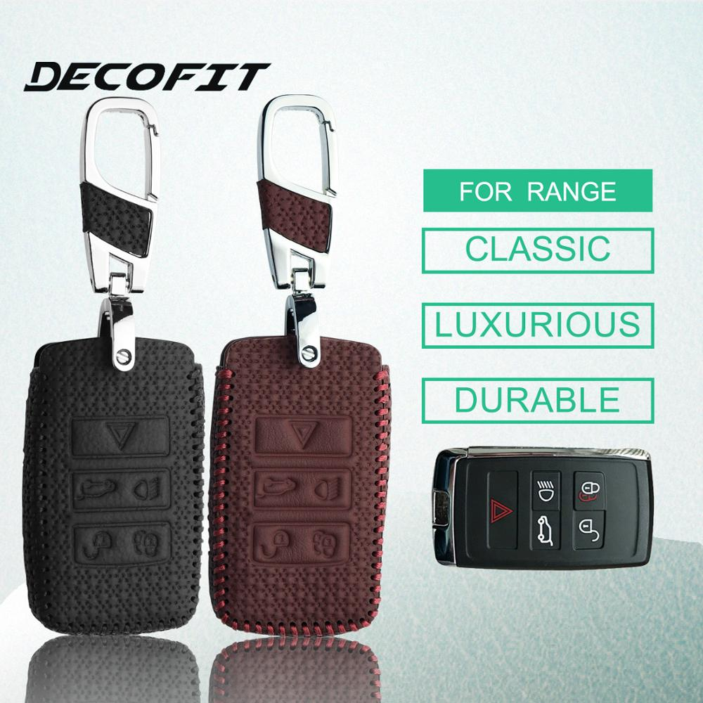 Leather Car key Case for for <font><b>Range</b></font> <font><b>Rover</b></font> Velar Discovery 5 Jaguar E-Pace Sport <font><b>Evoque</b></font> Accessories Styling Remove Case <font><b>Keychain</b></font> image