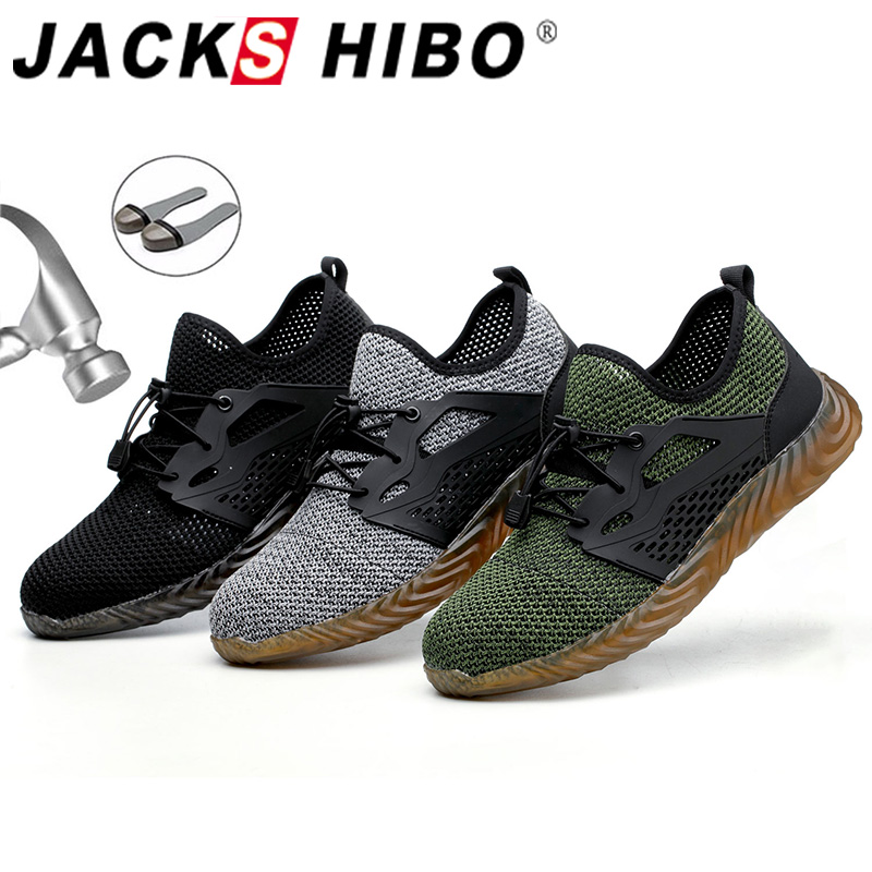 JACKSHIBO  Work Safety Shoes For Men Summer Breathable Boots Working Steel Toe Anti-Smashing Construction Safety Work Sneakers 1
