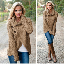 Autumn Sweater Women Knitted Turtleneck Long Sleeve Solid Butttons Front Split Pullovers Female Winter Casual Loose Sweaters Top