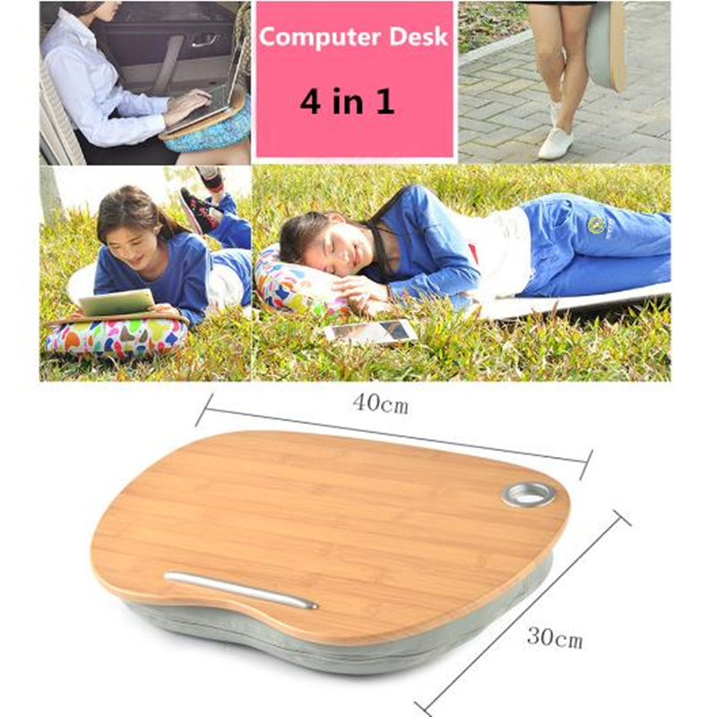 Portable Mini Laptop Desk Househol Cup Tray for Pad/Phone/Book Office Lunch Break Pillow for Picnic/Camping Car Seat Cushion