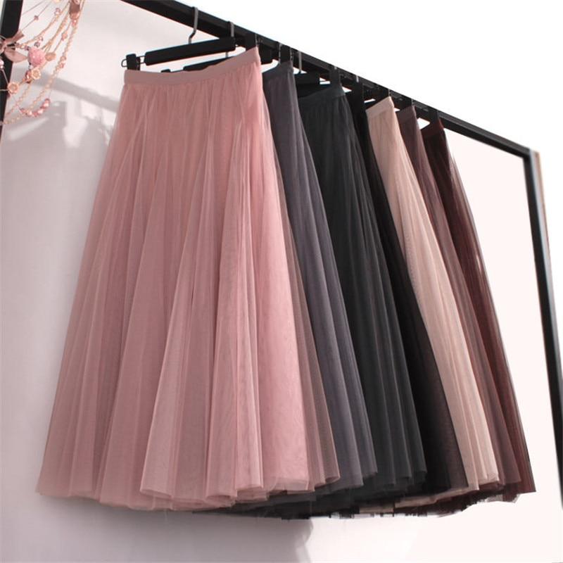 Plus Size High Waist Tulle Skirts Womens Long Pleated Skirt Black Pink Elegant Maxi Skirt Female Spring Summer Korean Mesh Skirt