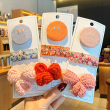 3 Pcs/Set Chidren Cute Colors Flower Knitting Bow Ornament Hair Clips Girls Lovely Soft Barrettes Hairpins Kids Hair Accessories