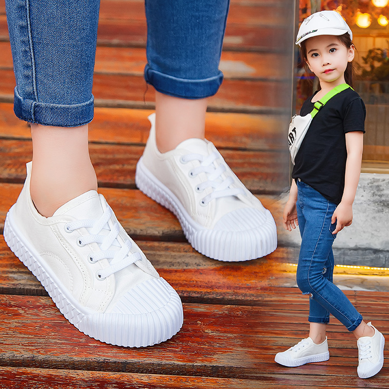 Fall 2019 New KidsShoes Canvas Shoes Girls Skate Breathable BoysLeisure White Yellow and Black Childrens