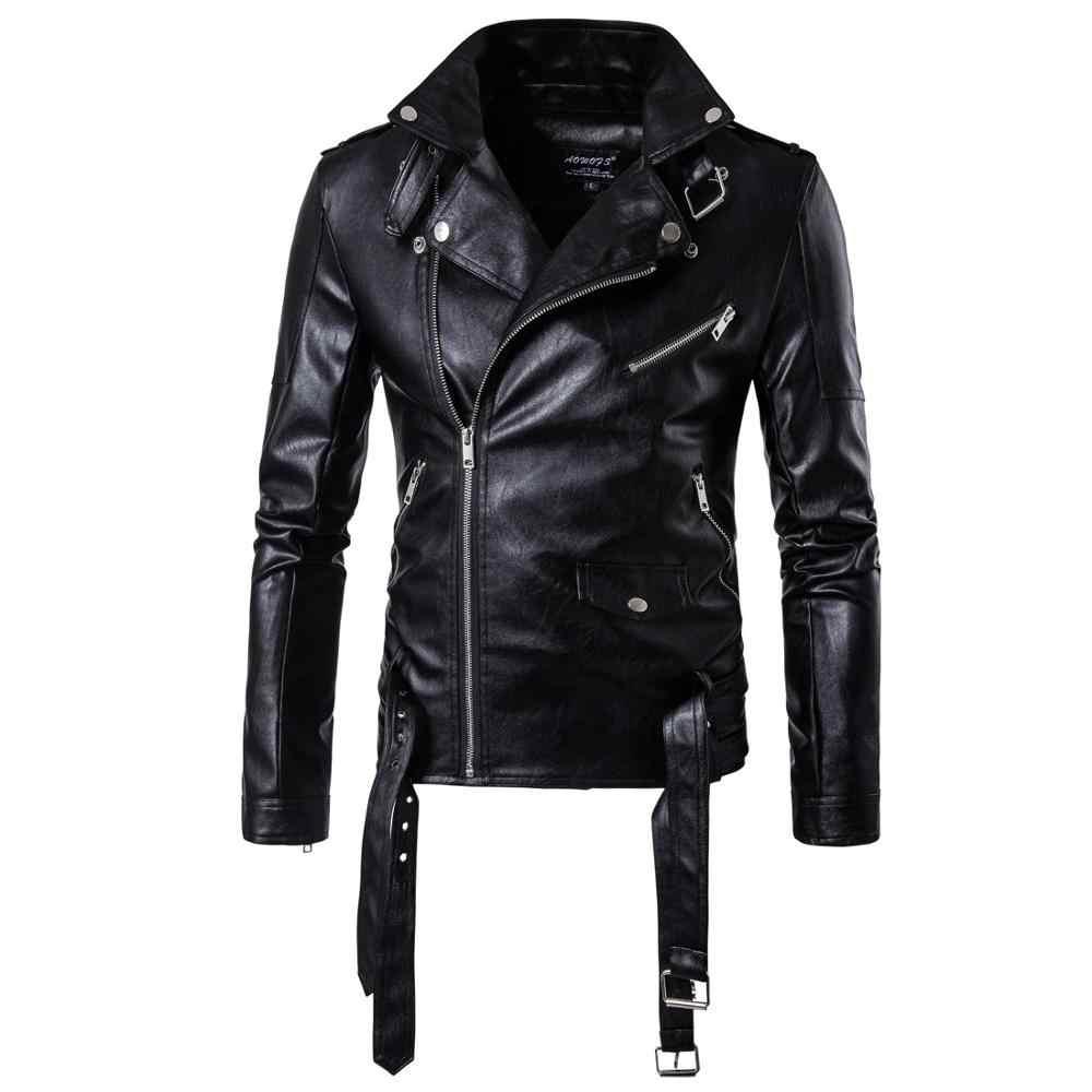 2019 moda motosiklet bombacı deri ceket erkekler sonbahar turn-aşağı yaka Sashes Slim fit erkek deri ceket ceket artı boyutu 5XL