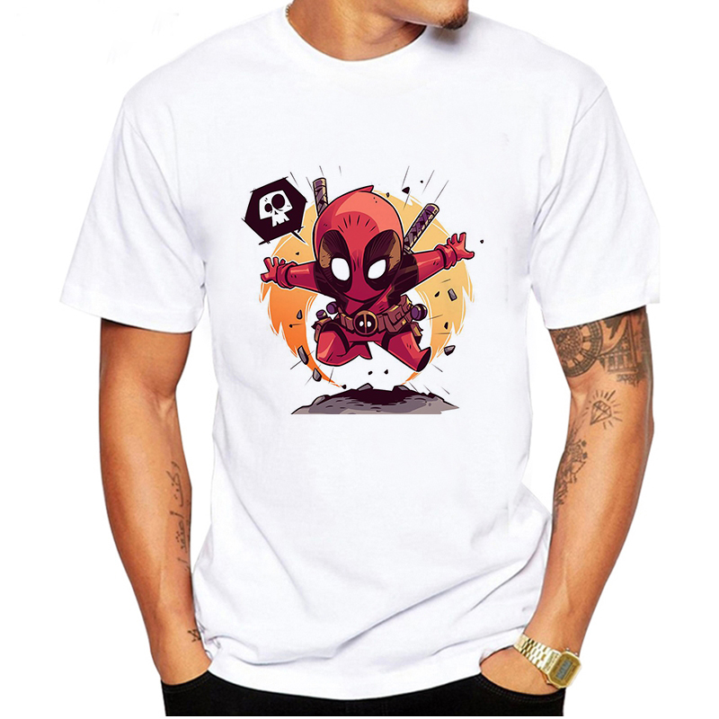 LUSLOS Men T-shirt Superhero Marvel Tshirt Crewneck Male Casual White T-shirt Oversized Homme Tshirts Men Clothes 2019Streetwear