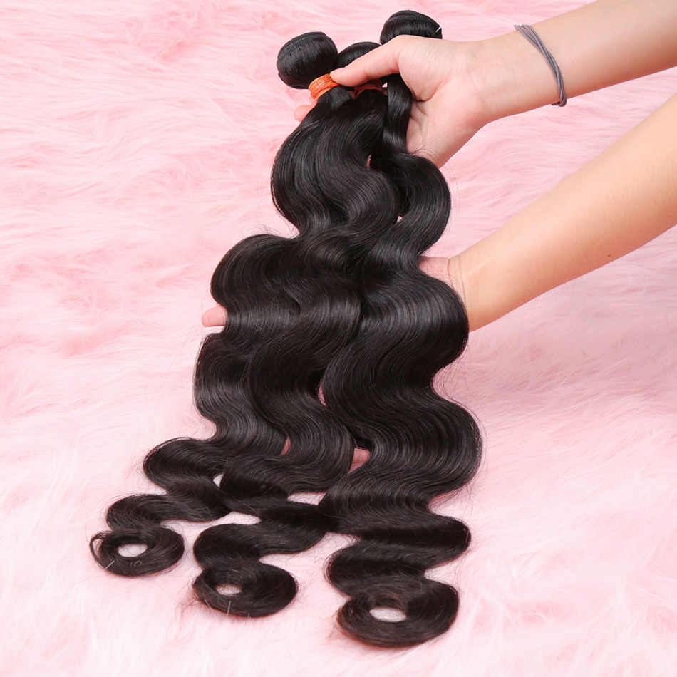 28 30 32 34 40 Polegada onda do corpo cabelo brasileiro tece pacotes 3 4 pacotes de cabelo humano pacotes único pacotes remy extensões do cabelo