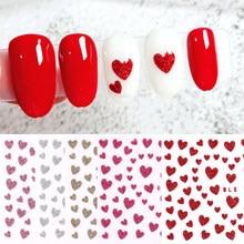 1pc 3D ongle curseur amour coeur conception paillettes brillant décoration décalque bricolage transfert adhésif coloré Nail Art conseils tatouage manucure