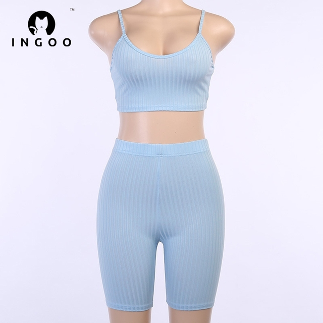 INGOO Summer Backless Tracksuit Sets Women Strap Crop Top And Mini Biker Shorts Ladies Solid Ribbed Casual Street Outfits Sets 5