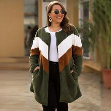 XL-4XL Autumn Winter Big Size Soft Velvet Coats Cardigan Casual Large size Women Loose Cardigans Plus Long Warm Coat Jacket