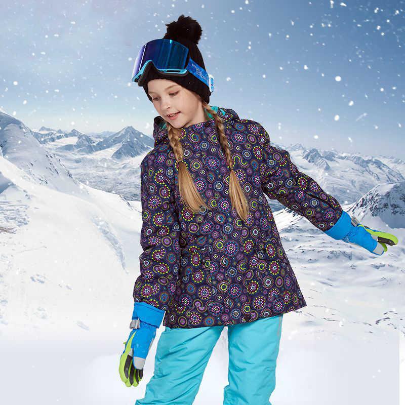 2019 冬の女の子スキーセット屋外スポーツスノーボードスーツ防水子供スキージャケット雪スキー服暖かい防風フード付き