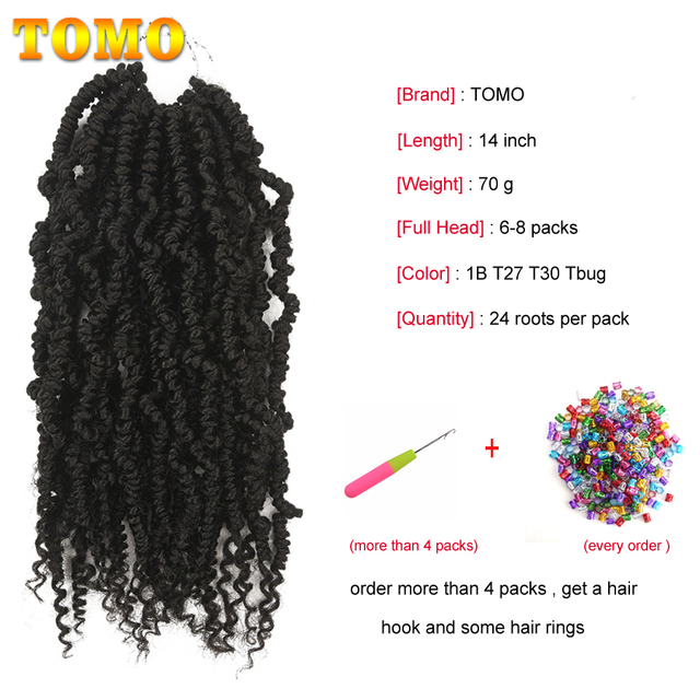 TOMO Bomb Twist Crochet Braids Pre-looped Passion Twist Crochet Hair Ombre Spring Twist Synthetic Braiding Hair Extensions 14 3