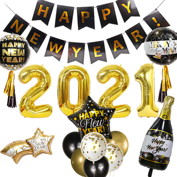 Happy New Year 2021 Decorations Wine Bottle Foil Balloons For Christmas Home Decor Air Globos New Year Eve Party Noel Navidad 2021 new year gift santa claus wine bottle dust cover xmas noel christmas decorations for home navidad 2020 dinner table decor
