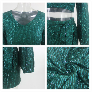 Image 5 - Ceremokiss Sequin Outfits Two Piece Set Women Sparkle Glitter V Neck Crop Top Shorts Autumn Sexy Bandage Puff Sleeve Club Sets