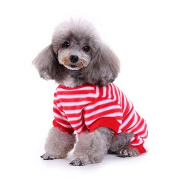 Xmas Striped Four-legged Pet Reindeer Knit Clothes Dogs Snowman Christmas Hoodies Costume For Small And Medium Dogs Clothes image