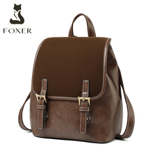 FOXER England Style Lady Backpack Cowhide Leather Retro Women Business Backpack Student Large Capacity School Bag Notebook Bag