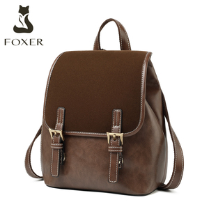 Image 1 - FOXER England Style Lady Backpack Cowhide Leather Retro Women Business Backpack Student Large Capacity School Bag Notebook Bag