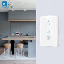 EWLink 미국 표준 Wifi 스마트 라이트 스위치 유리 스크린 터치 패널 무선 벽 스위치 Alexa & google 홈의 음성 제어