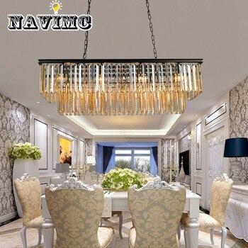 Lustre en cristal rectangulaire moderne pour la lampe de chambre à coucher de cuisine d'éclairage à la maison