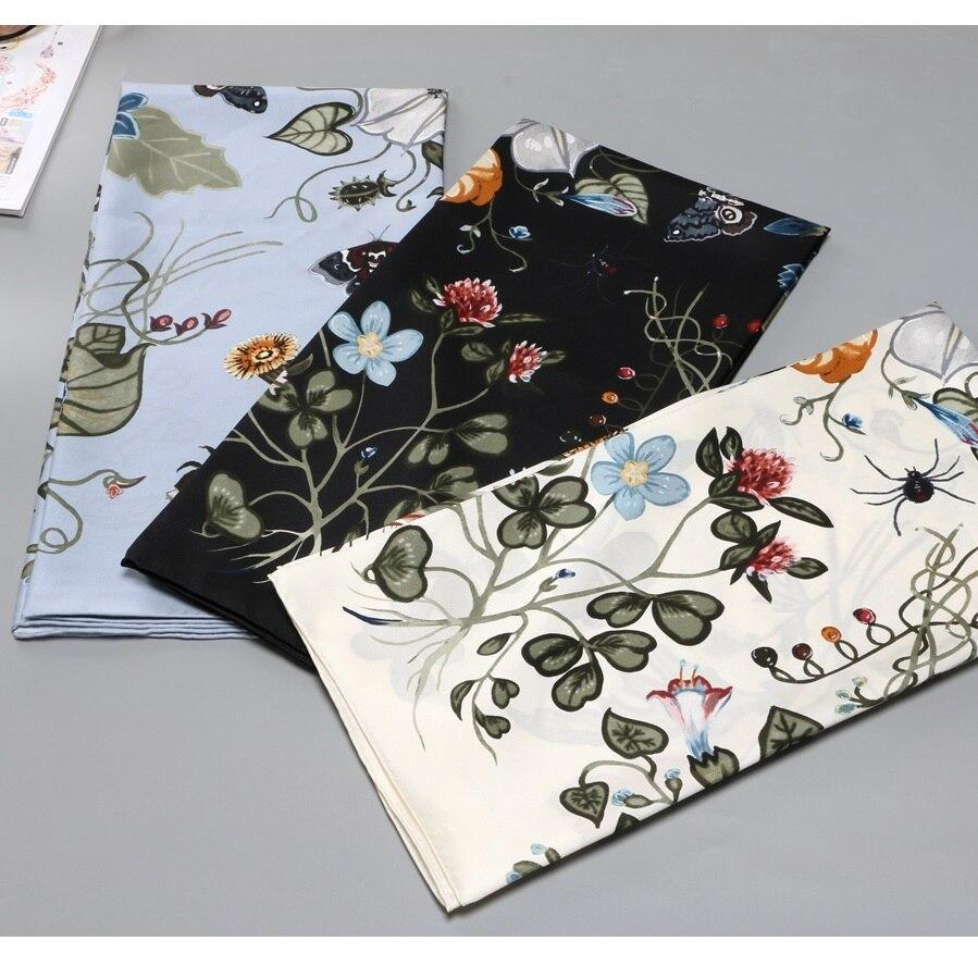 Floral 100% Silk Scarf Hijab Head Scarves Women Silk Shawl Foulard 35