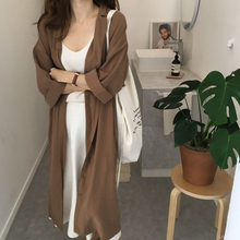 Korean Lace-up Long Shirt Dress Office Lady Casual Work Turn Down Collar Long Sl