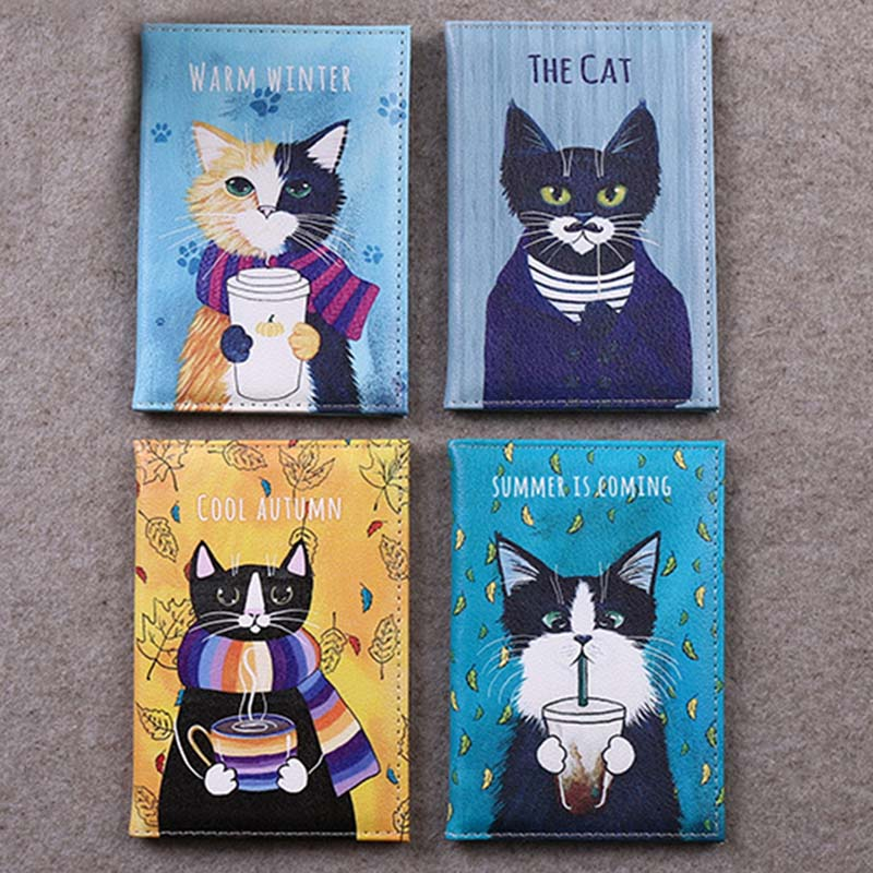 4 Colors Cute Cat Animals Travel Accessories Passport Holder PU Leather Travel Passport Cover Case Card ID Holders 14cm*9.6cm