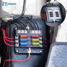 DC12-32V Automotive PC waterproof  Fuse Box Holder 5A 10A 15A 20A Fuses Spade For cars, SUV, RV, buses, yachts, boats, etc.