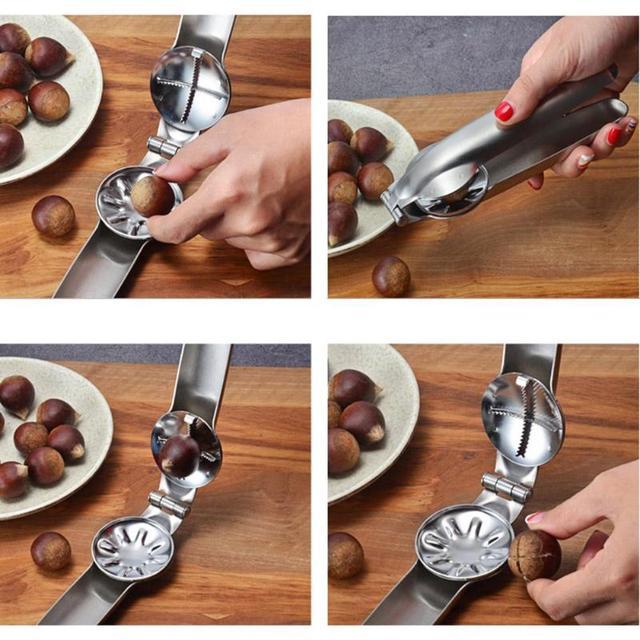 304 acier inoxydable écrou ouvreur 2 en 1 rapide châtaigne pince noix écrou rapide ouvreur métal décortiqueur Cutter Gadgets outils de cuisine