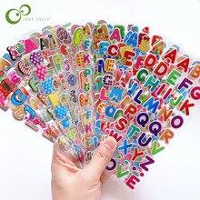 6 folhas crianças adesivos 3d inchado em massa dos desenhos animados inglês alfabeto letras número adesivos brinquedos educativos para menina menino gyh