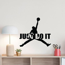 Motivational Gym Basketball Wall Sticker Just Do It Quote Jump man Sign Poster Fitness Home Decor Vinyl Art LY1750