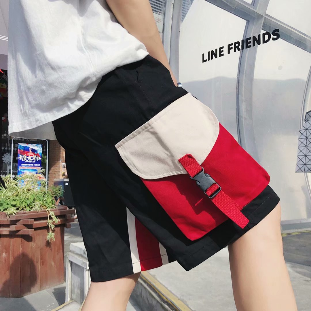 Large Pocket Workwear Shorts Male Fifth Pants Korean-style Trend Loose Casual 5 Pants Ulzzang Students Versatile