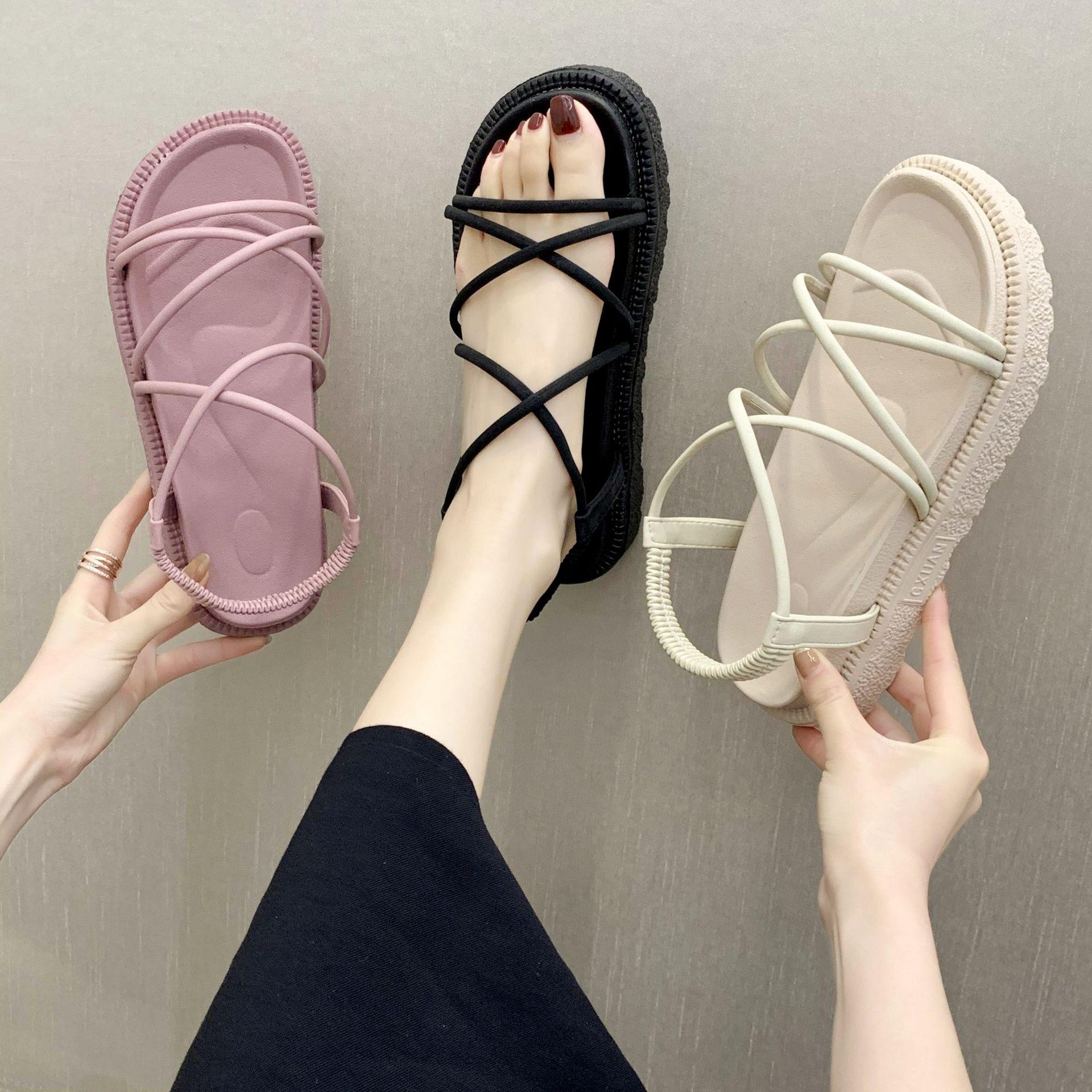 Sandals Female Students Simple Wild New Soft Female Platform Muffin Sandals