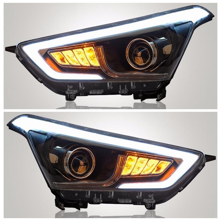 VLAND fabricant accessoires pour voiture lampe frontale pour IX25 phare LED 2014 lampe frontale avec xénon HID lentille de projecteur