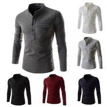 Camiseta informal de manga larga para hombre, camisa de Color sólido con cuello vuelto, botones, ajustada, Top de fondo