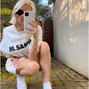 100%Cotton Jil Sander Super Chic Letters Printed T Shirt for Women Oversized Summer Tshirts Simple Streetwear Top Fashion Ladies 2