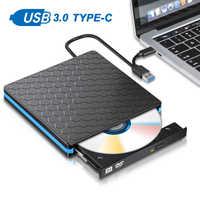 Unidad de DVD externa Unidad óptica USB 3,0 CD ROM reproductor CD-RW quemador escritor grabadora Portatil para ordenador portátil Windows PC