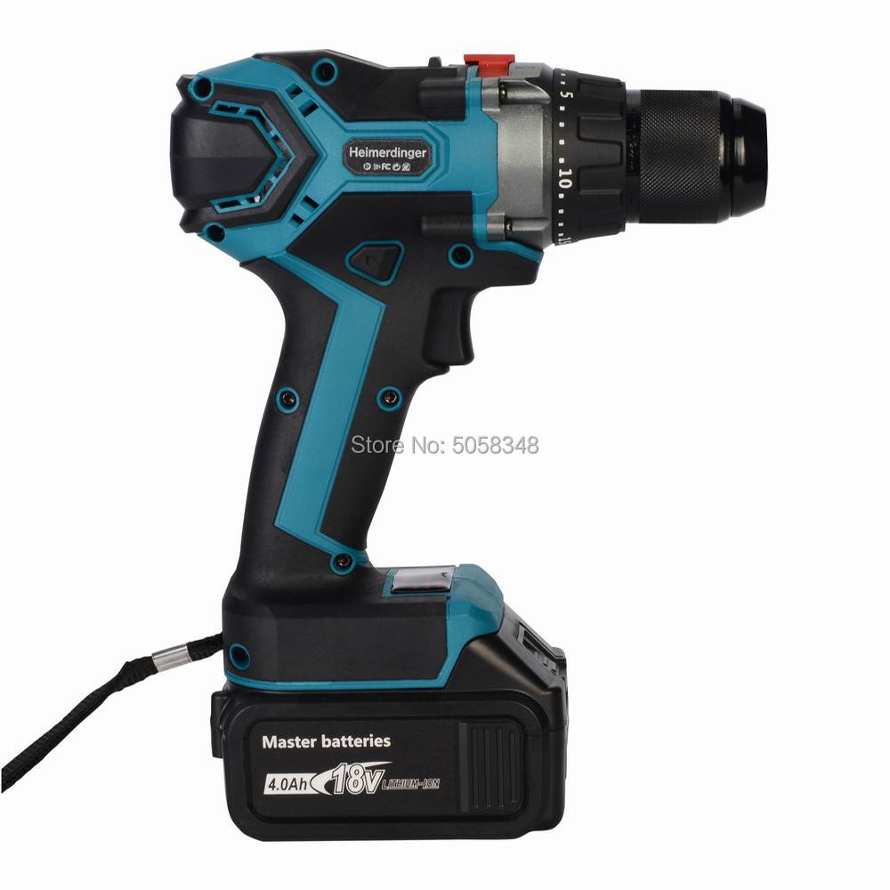 13mm 18V Cordless Brushless Impact Drill Hammer Drill Screw Driver Torque Drill With One 4.0Ah Lithium Ion Battery