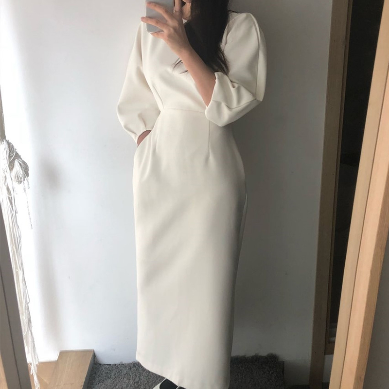 Elegant Ladies Office Dress Fashion Sexy Solid Color Dress Women Slim Midi Dress Vestidos OL