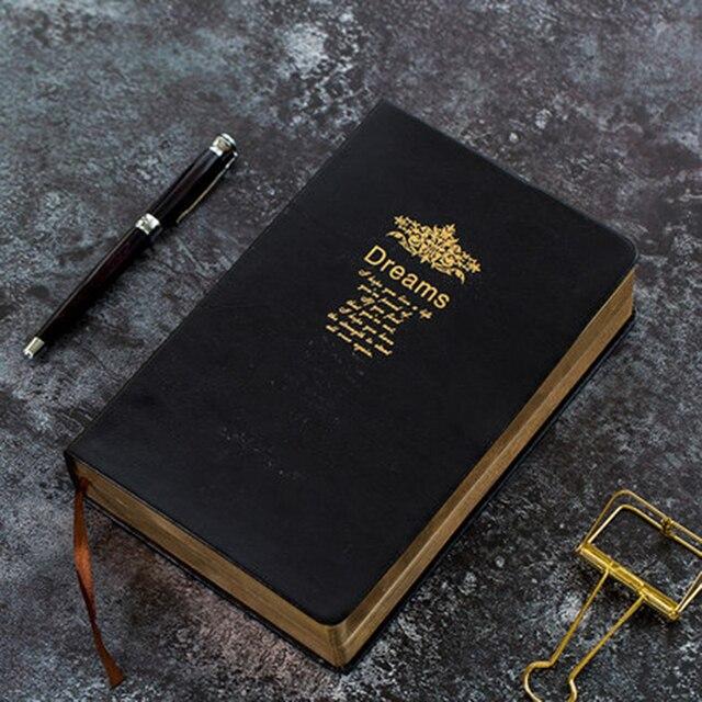 Bardzo grube Retro złoty obręcz zeszyt gładki sen wytłaczanie na gorąco miękki notatnik duży obraz napisz pamiętnik piśmiennicze dziennik prezent